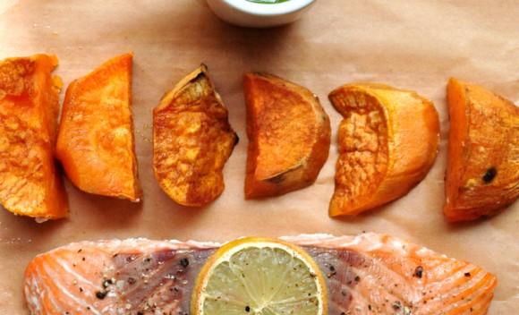 Roasted salmon, cinnamon sweet potato and pesto